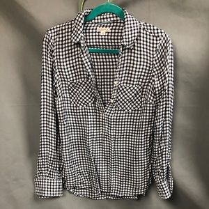 Flannel check shirt halt button tunic style
